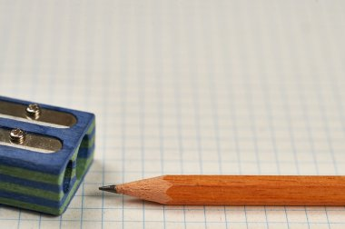 pencil, sharpener and sheet