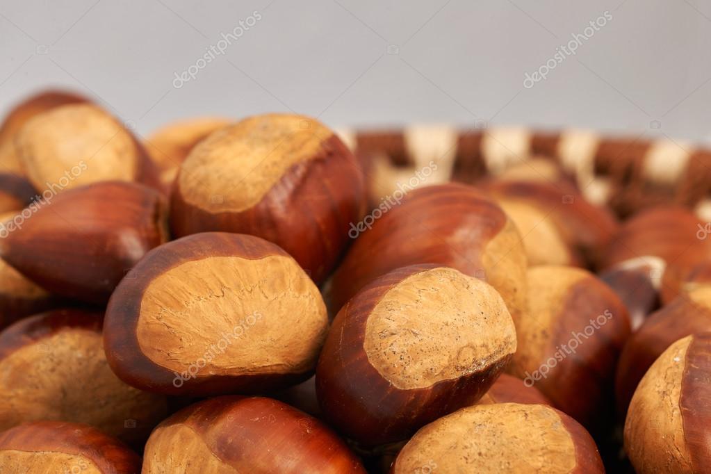 Basket of large chestnuts