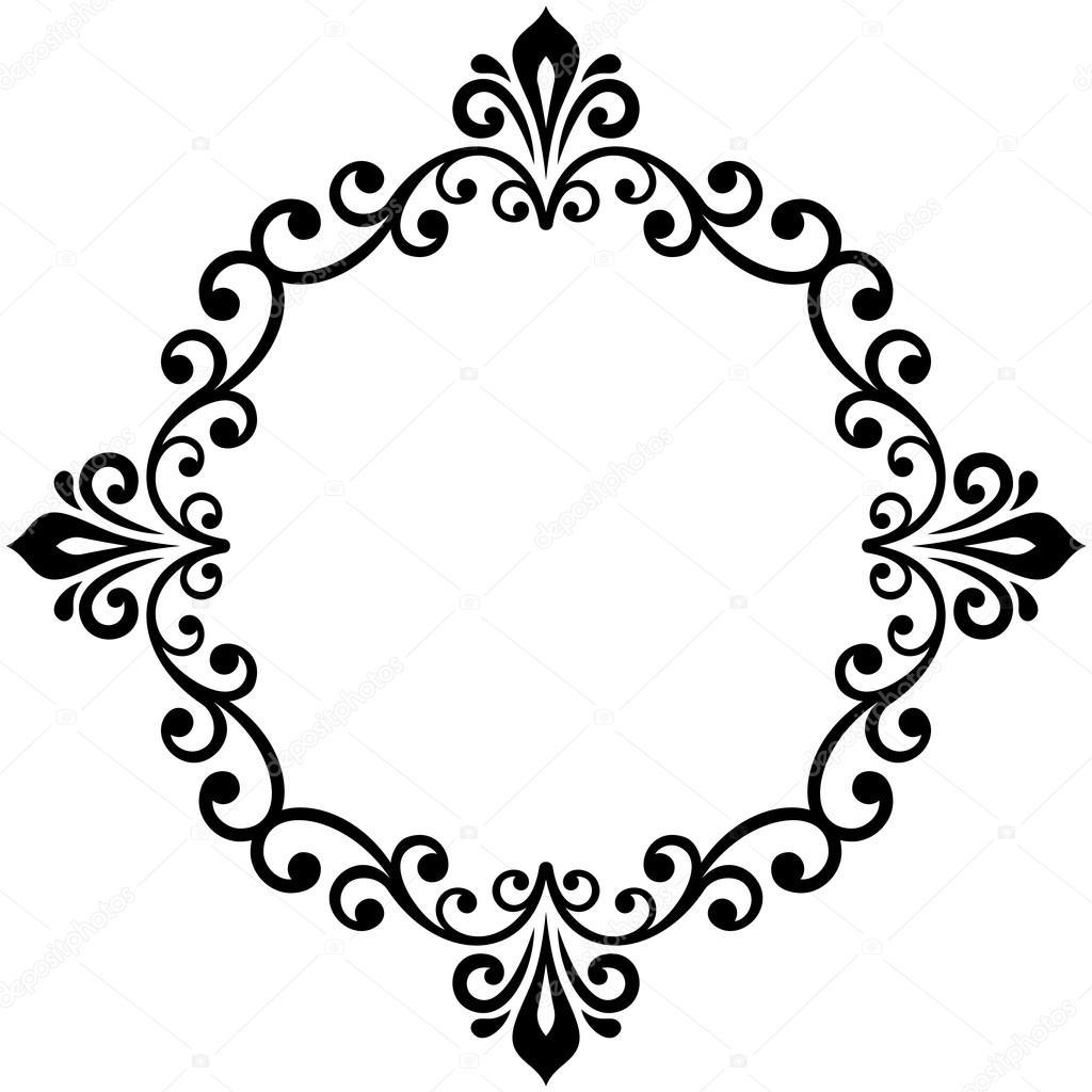Stock Illustration Floral Modern Vector Round Frame on Spiral Border Clip Art