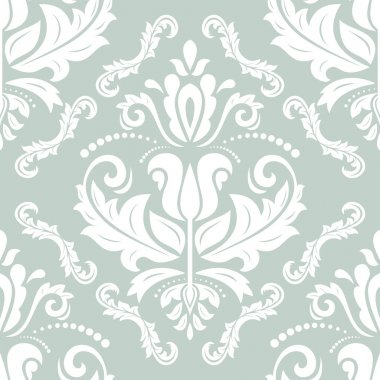 Floral vector oriental pattern with damask, arabesque and floral elements. Seamless abstract wallpaper and background stock vector