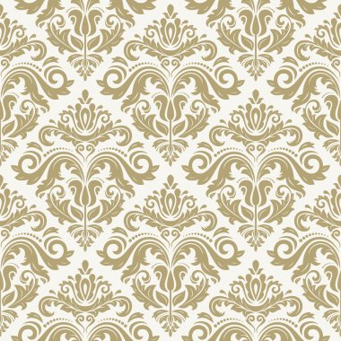 Damask vector floral pattern with arabesque and oriental golden elements. Seamless abstract tradiional ornament for wallpaper and background stock vector