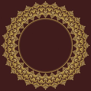 Damask vector floral round pattern with golden arabesque and oriental elements. Abstract traditional ornament for wallpapers and backgrounds stock vector