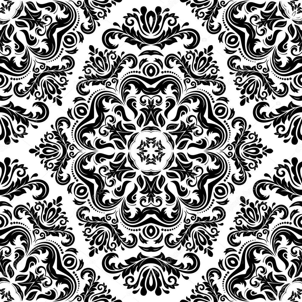 damask seamless vector pattern orient background black. Black Bedroom Furniture Sets. Home Design Ideas