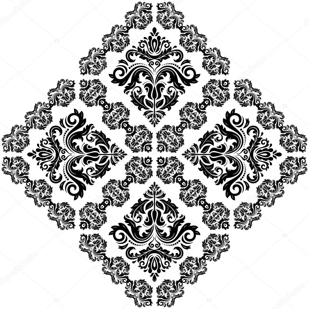 Damask Vector Pattern. Orient Ornament. Black And White