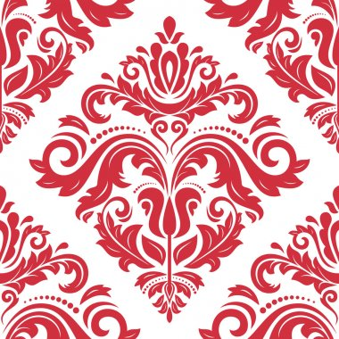 Pattern in the style of baroque. Seamless vector background. Damask texture with red orient and floral elements stock vector
