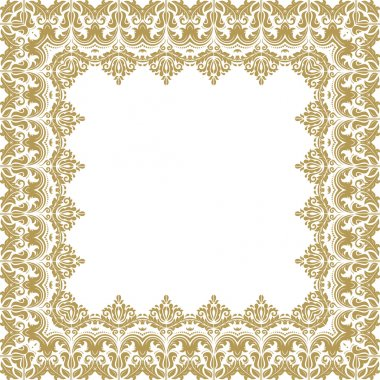 Oriental vector frame with golden arabesque and floral elements. Abstract ornament stock vector
