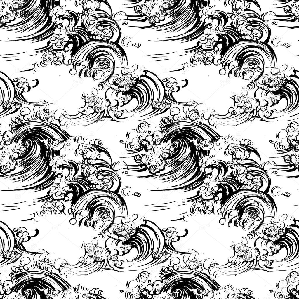 Ondas de patrones sin fisuras cepillo impresión serigrafía de ...