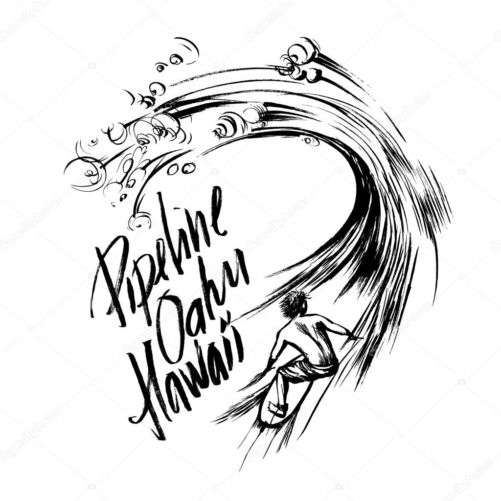 Pipeline Oahu Hawaii Lettering brush ink sketch handdrawn serigraphy print