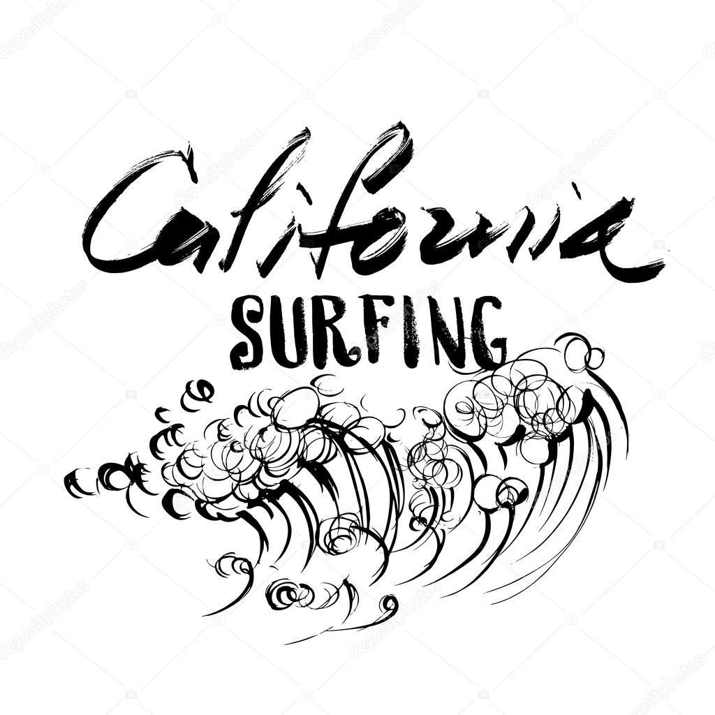 letras de surf de california pincel tinta dibujo handdrawn