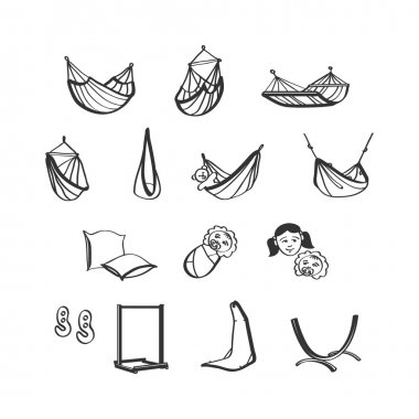 Hammocks icons set