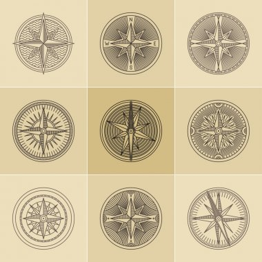 Round Linear Vintage Compass Logos.