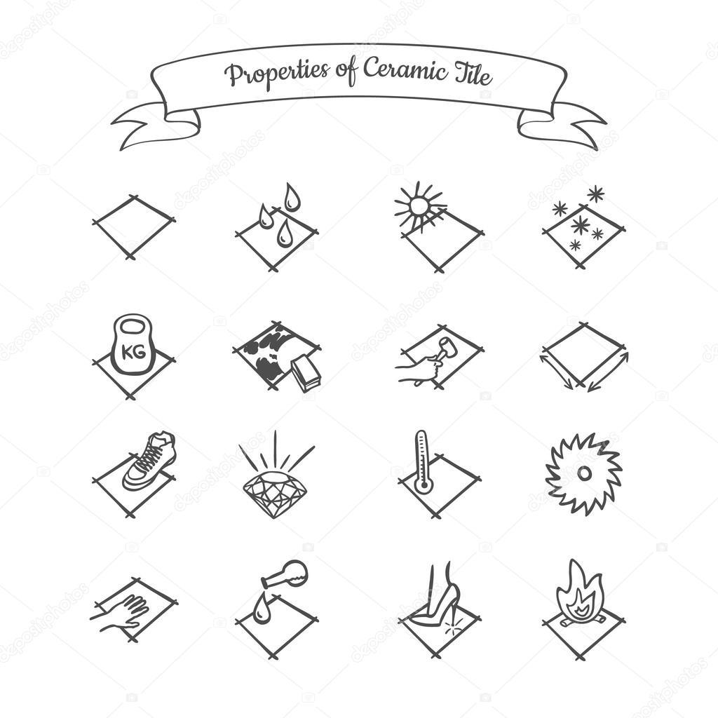 Properties of Ceramic Tile — Stock Vector © apazdun #87540484