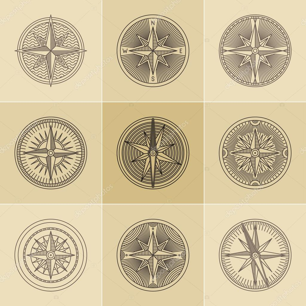 Set Of Round Linear Vintage Compass Logos Outline Monochrome Stamp Navigation Brand Design Vector By Apazdun
