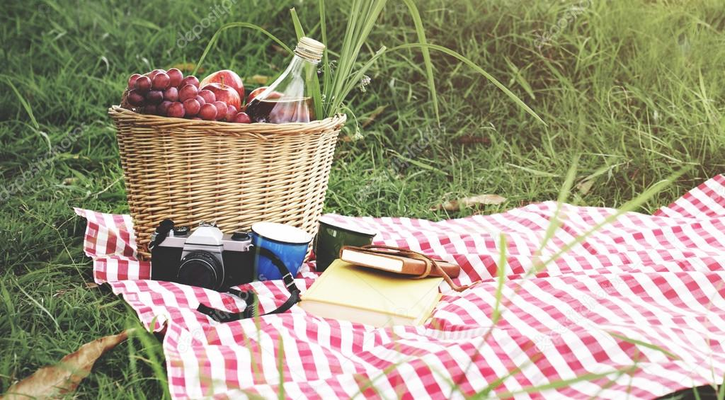 Picnic Basket on Vacation Concept