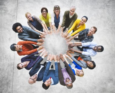 Multi-Ethnic Group of People In Circle