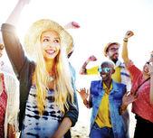 Fotografie Teenager-Freunde am Strand-Partei-Konzept