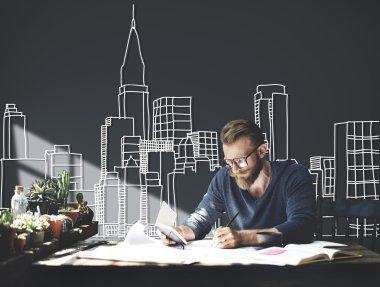 Metropolitan Urban Building and working businessman