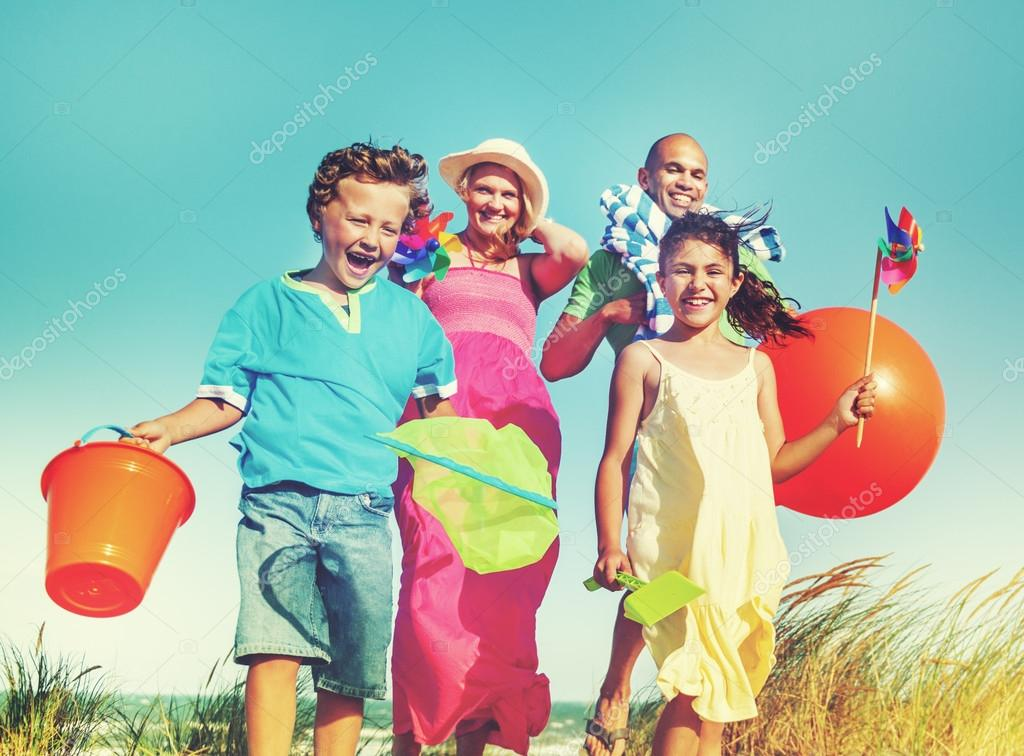 beautiful family going to beach