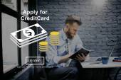 Photo man and Apply Credit Card Concept