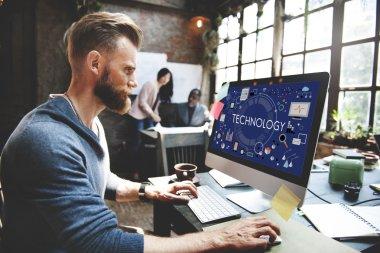 man and Tehnology Tech Digital Evolution Concept