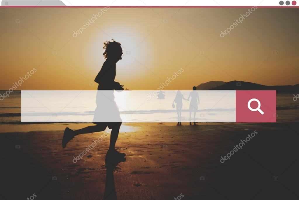 people jogging on beach at sunset