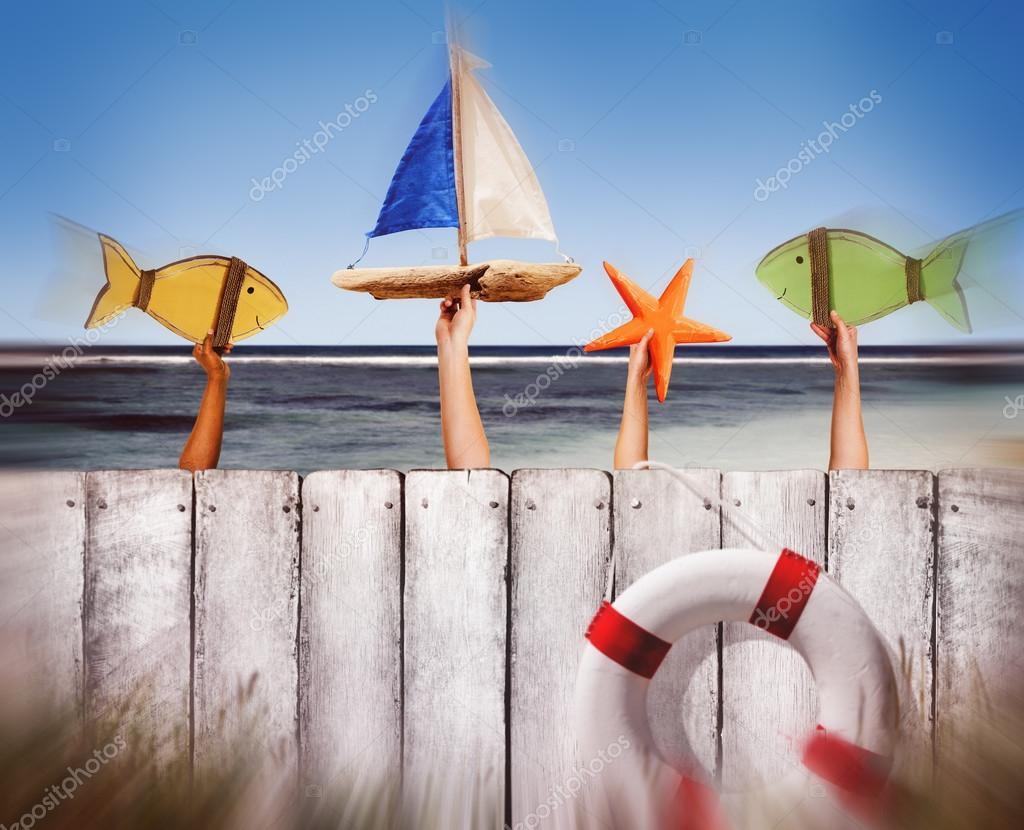 Beach and Wooden Plank Fence