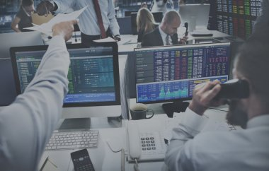 business people working and stock exchange