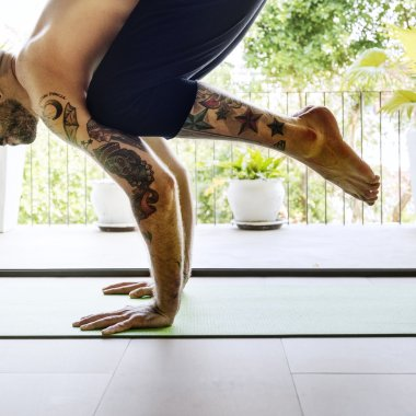 Man Practicing Pose Yoga