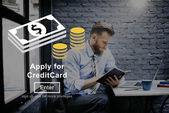 Photo businessman and apply for credit card