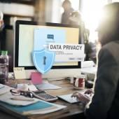 Fotografie Geschäftsfrau und Daten Datenschutz-Konzept