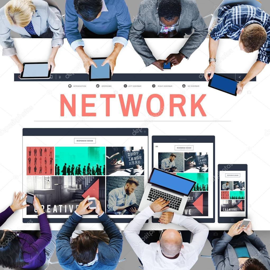 Netzwerk System Online Networking Anschlusskonzept Stockfoto