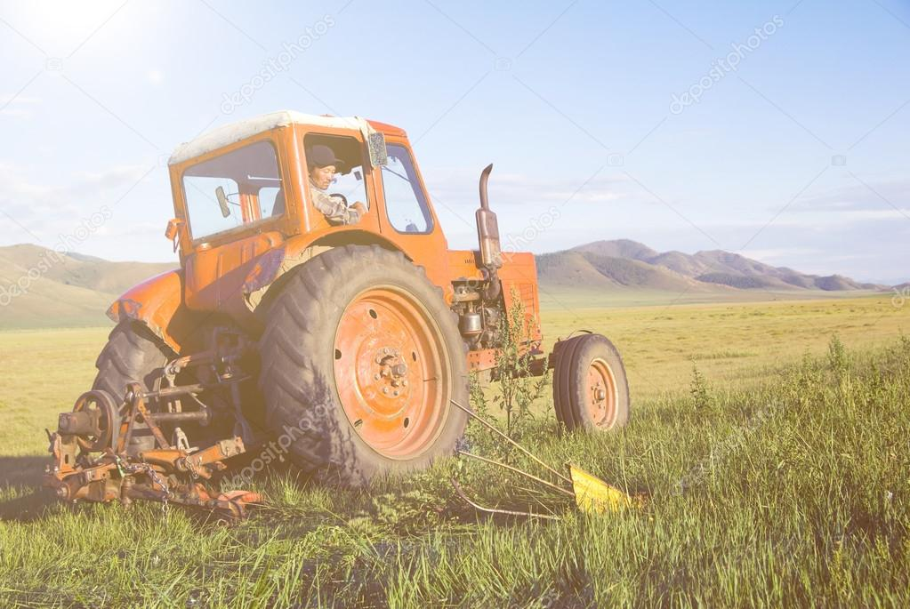 Tractor Harvesting field