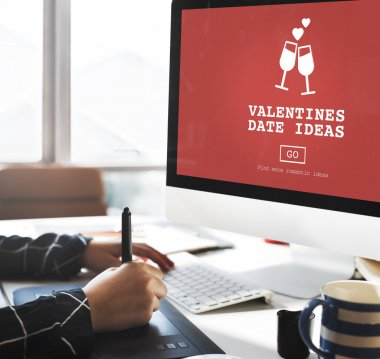 computer with Valentine Date Ideas on monitor