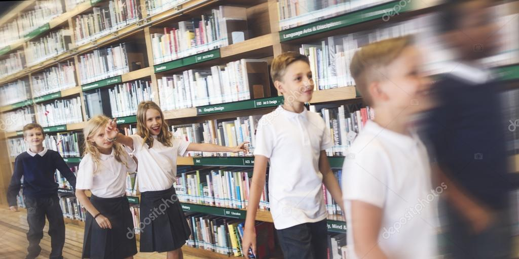 children together at school library