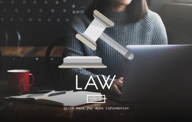 woman typing on laptop with law