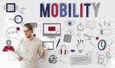 Fotografie Geschäftsmann, arbeiten mit Mobilität
