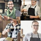 Fotografie Collage-Sammlung von fröhlichen Menschen