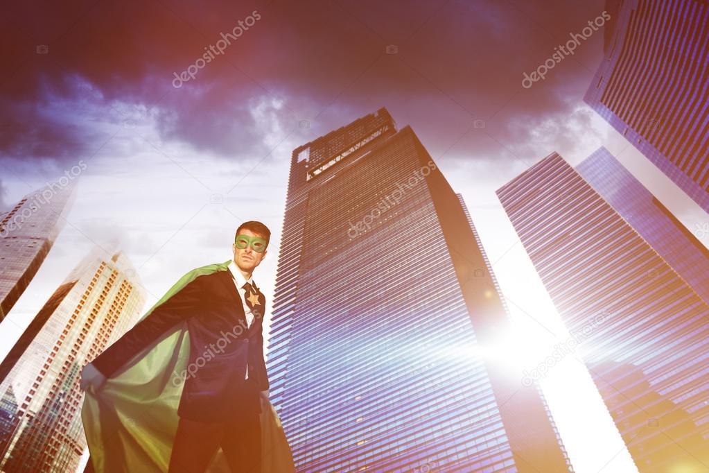Homme d affaires de super h ros dans la ville moderne for Ville super moderne