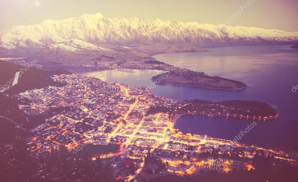 illuminated town in the mountains