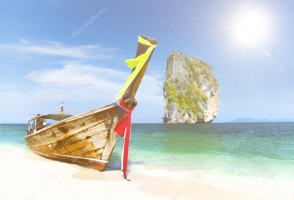Paradise Island with a Longtail boat