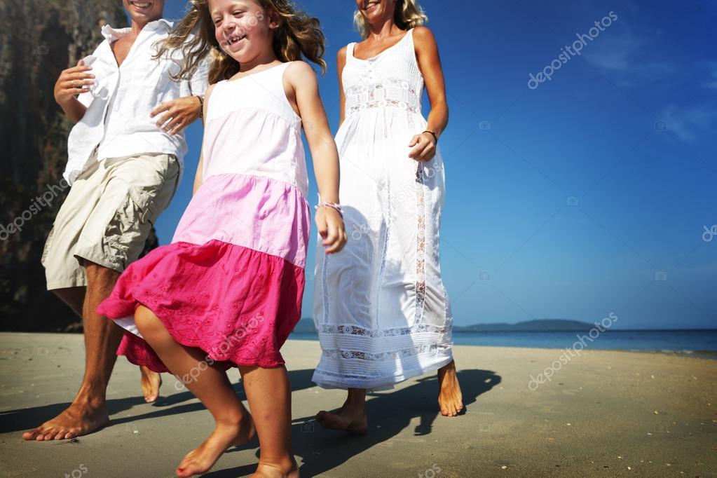 Family with children at beach
