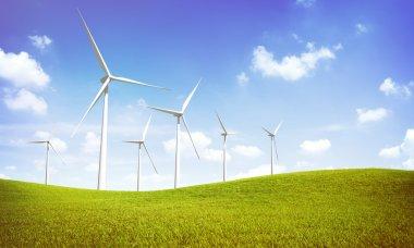 Windmill Turbines on green hills