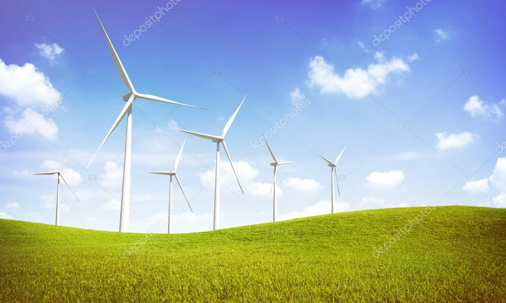 Windmill Turbines on green hills