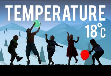 Kids Playing and Temperature Forecast Concept