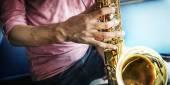 Fotografie Jazzman Playing Saxophone