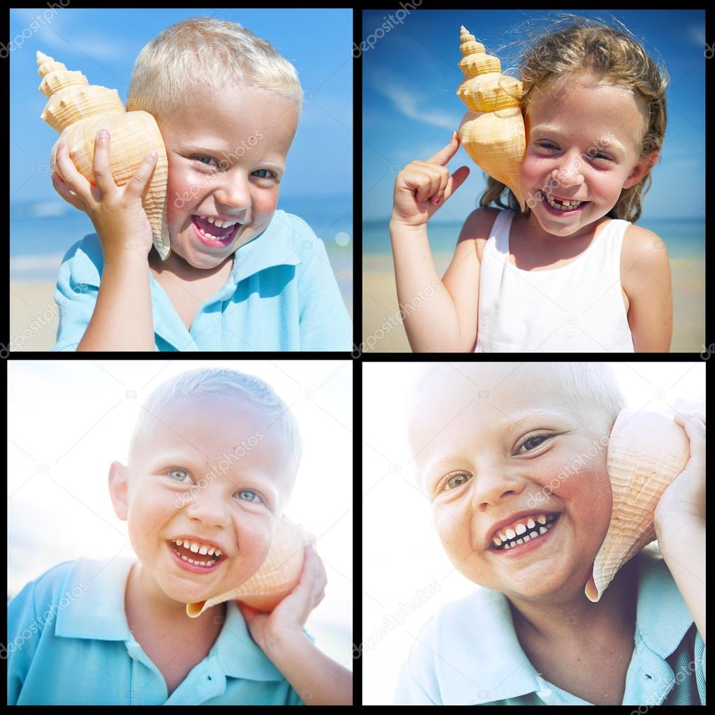 Collage of Child on the beach