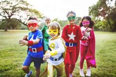 Superhero Kids playing outdoor