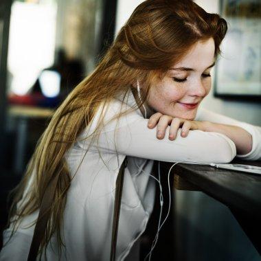 Girl spending time in cafe