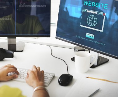 businessman working on computer with website