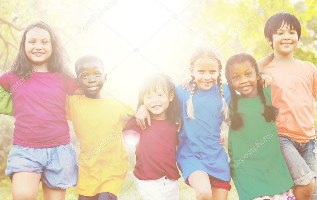 multi ethnic children outdoors